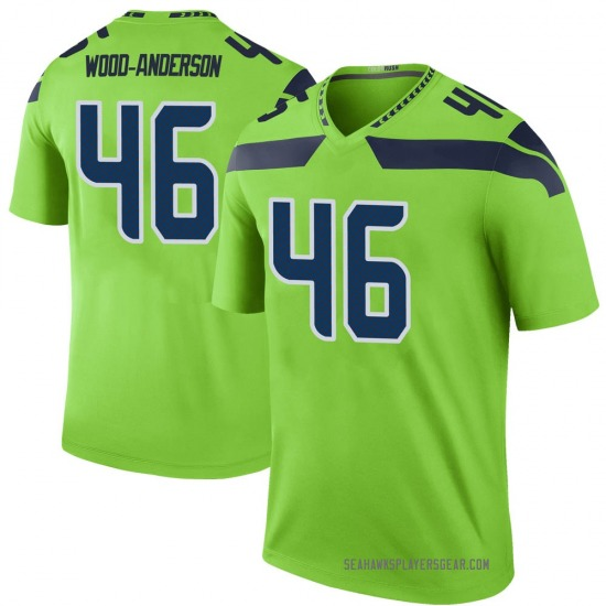 Dominick Wood-Anderson Seattle Seahawks No.46 Legend Color Rush Neon Jersey - Green