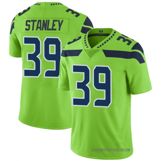 Jayson Stanley Seattle Seahawks No.39 Limited Color Rush Neon Jersey - Green