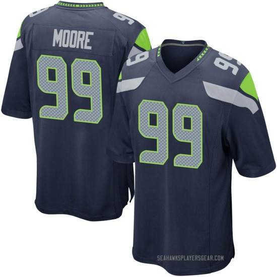 Men's Damontre' Moore Seattle Seahawks No.99 Game Team Color Jersey - Navy
