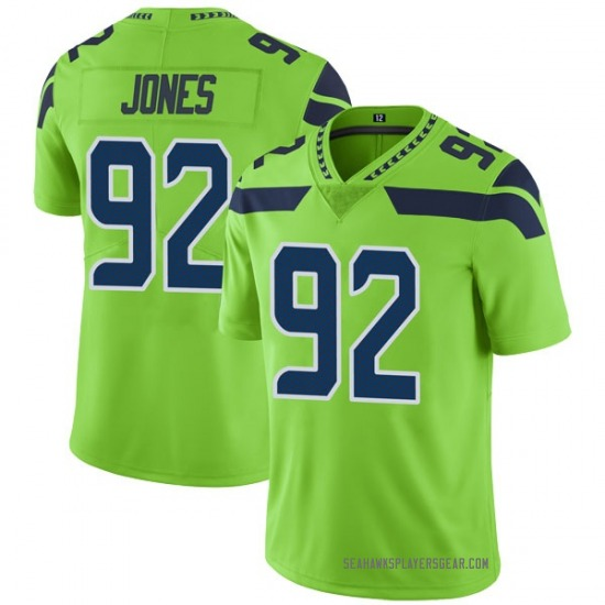 Nazair Jones Seattle Seahawks No.92 Limited Color Rush Neon Jersey - Green