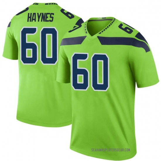 Phil Haynes Seattle Seahawks No.60 Legend Color Rush Neon Jersey - Green